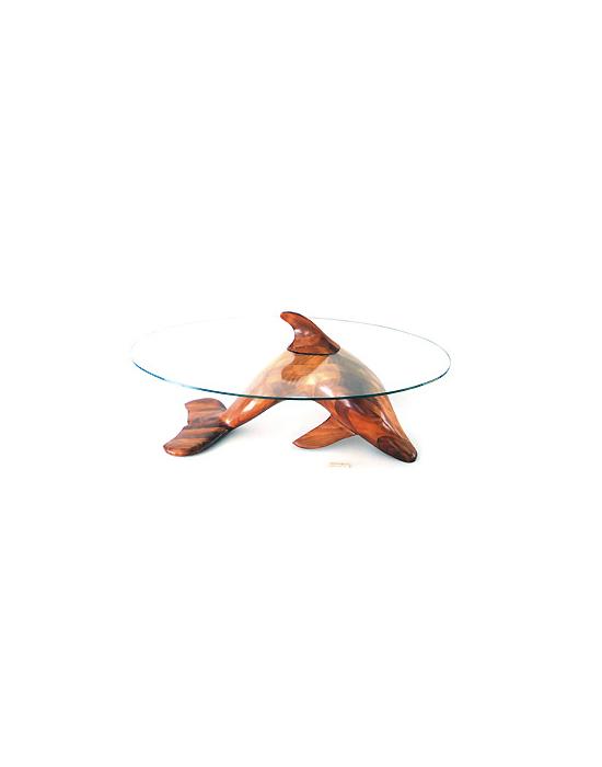 Table basse sculpturale dauphin en bois noble