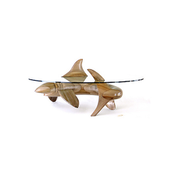 Table basse sculpturale requin en bois noble