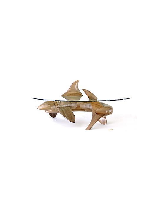 Table basse sculpturale requin en bois noble