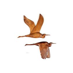 Le vol du heron en bois noble 60 cm