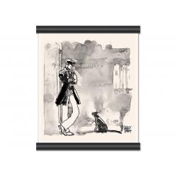 Toile Corto Maltese de Hugo Pratt - Corto et le chat -
