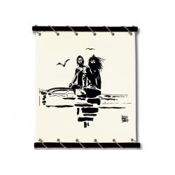 Toile Corto Maltese de Hugo Pratt - Pirogue -