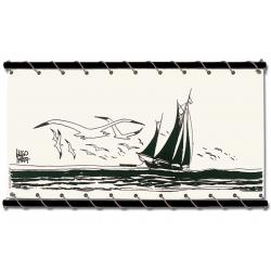 Toile Corto Maltese de Hugo Pratt - Voilier -