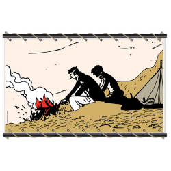 Toile Corto Maltese de Hugo Pratt - Feu de camp ecru -