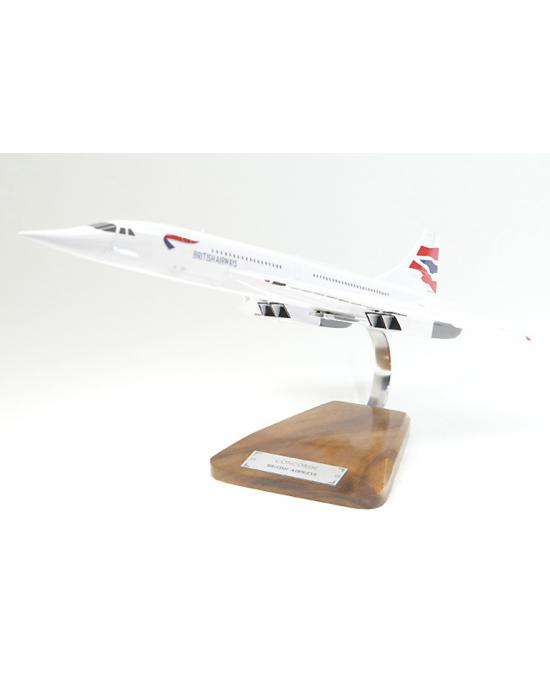 Maquette avion Concorde British Airways en bois