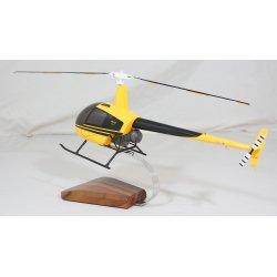 maquette en bois helicoptere Robinson R22