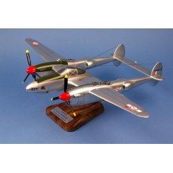 Maquette avion P-38 / F.5B Lightning GR2/33 Savoie St Exupéry Savoie en bois